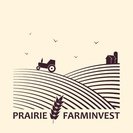 agricultura: Vector logo concepto de negocio de la inversión agrícola. Vectores