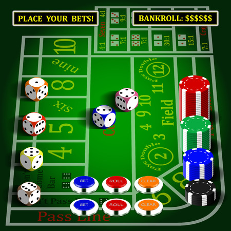Casino dice game interface set with background elements.