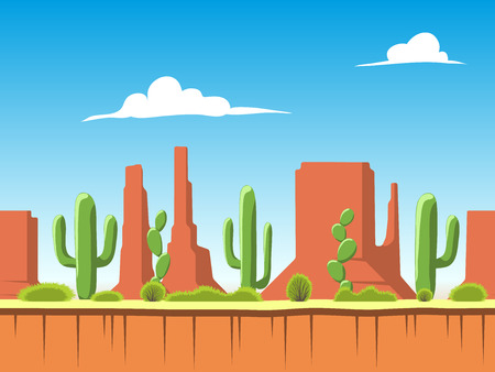 Seamless cartoon nature landscape, unending background with soil, bushes, mountains and cloudy sky layers Illustration