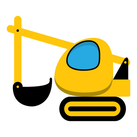 Black and yellow cartoon digger icon, toy machine.