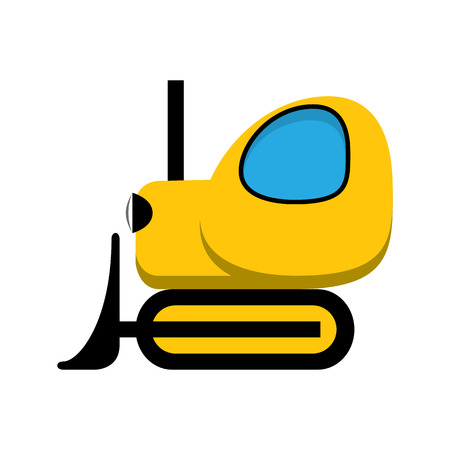 yellow tractor: Amarillo y negro icono bulldozer tractor de juguete. Vectores