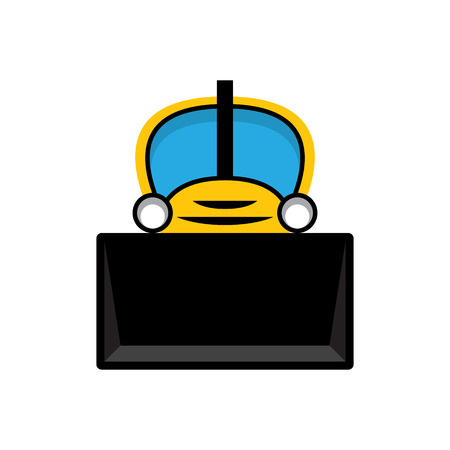 Yellow and black toy tractor bulldozer icon.
