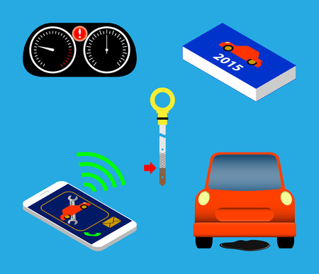 Isolated automotive service icons set vector illustration.