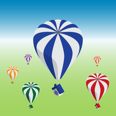 cloning: Hot air balloons flying with house.  Easy cloning icons. Just change one of colors or both. Illustration