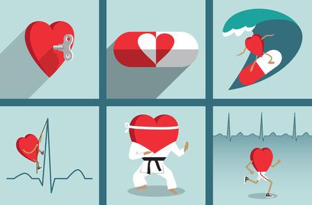 Heart health care motivation vector illustration set.