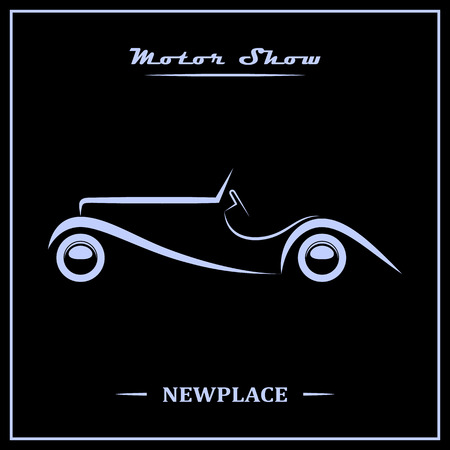 Motor show poster concept. Silver over black. Vector illustration.