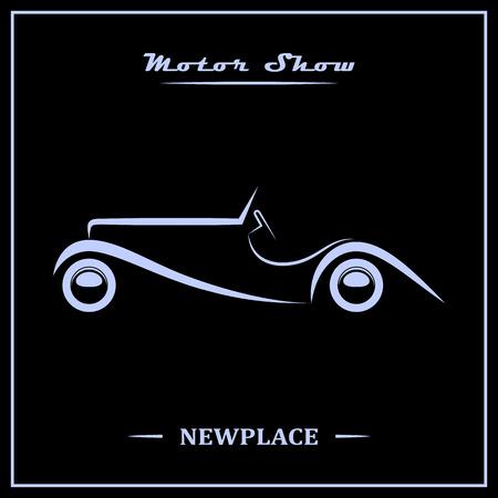 silhouette voiture: Spectacle concept de l'affiche du moteur. Argent sur noir. Vector illustration.