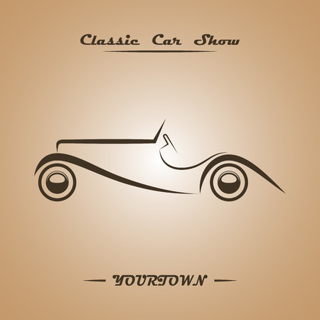 car speed: Classic car show poster concept. Silver over black. Vector illustration. Illustration
