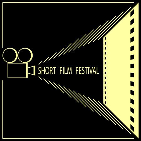 Korte film festival, cinema filmfestival poster sjabloon. Zwart en goud. Vector illustratie.
