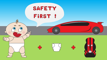 Funny child car safety concept. Baby car seat. Çizim