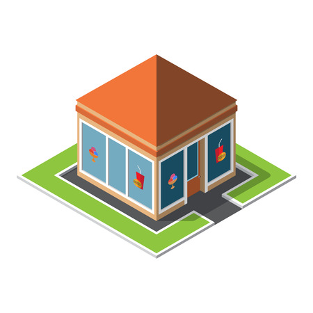 Isometric cafe building icon over white. Vector illustration.