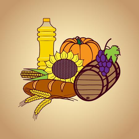Autumn harvest food set. Vector illustration background. Ilustração