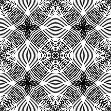 Abstract black and white openwork seamless geometric pattern. Vector illustration. Ilustracja
