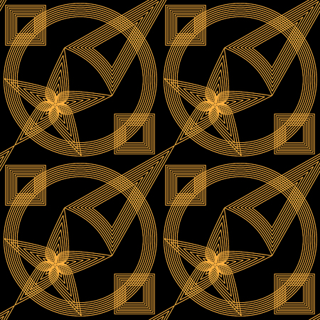 Abstract gold and black openwork seamless geometric pattern. Vector illustration.