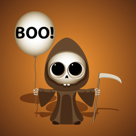scythe: Halloween little grim reaper with scythe and air balloon. Boo concept vector illustration. Illustration