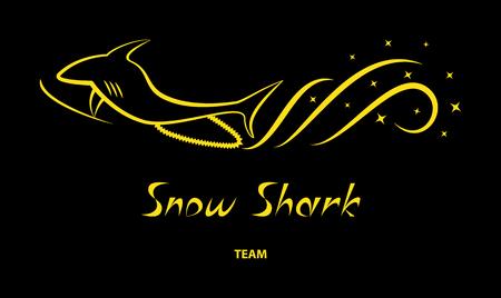 winter sport: Yellow snowmobile silhouette  on black background. Winter sport team logo concept. T-shirt print. Vector illustration.