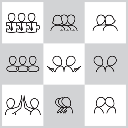 hands tied: Line icons set of communication related vector icons. Vector illustration. Illustration