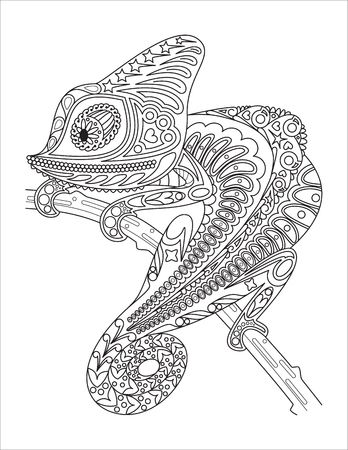 Vector monochrome chameleon coloring page black over white.