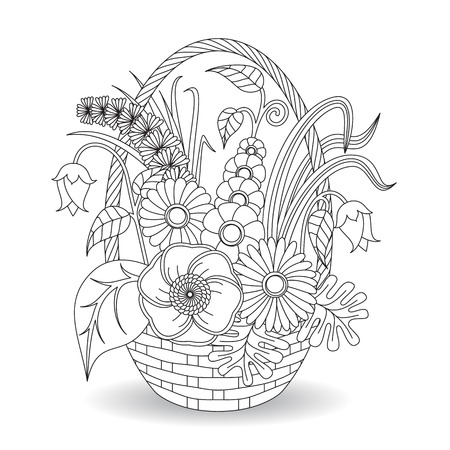 hand print: Doodle art flowers floral pattern. Coloring page template.