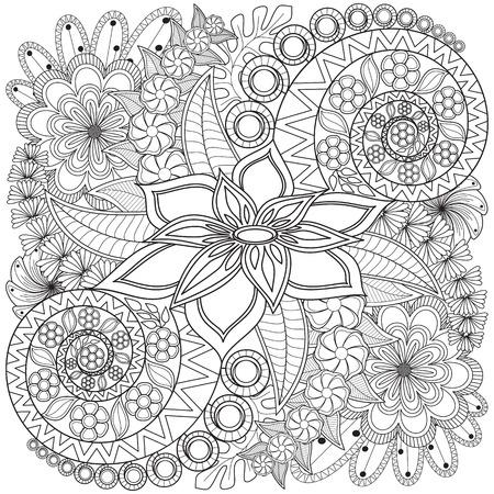 Fleur tourbillon page à colorier motif. texture de fond très détaillée. Banque d'images - 51066844