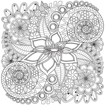 Flower swirl coloring page pattern. Very detailed background texture. Ilustracja