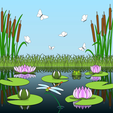 rushy: Colorful cartoon background with pond inhabitants and plants. Vector illustration.