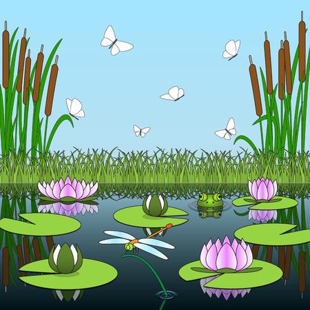 Kleurrijke cartoon achtergrond met vijver inwoners en planten. Vector illustratie. Stock Illustratie