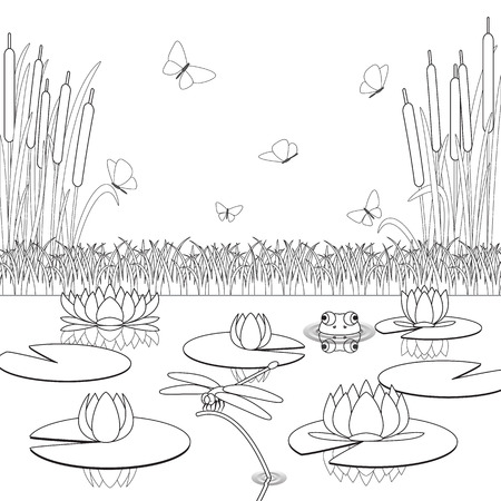 Coloring page with pond inhabitants and plants. Vector illustration.