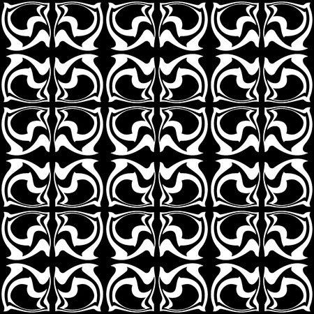 Seamless abstract background includes black monochrome pattern. Vector illustration.