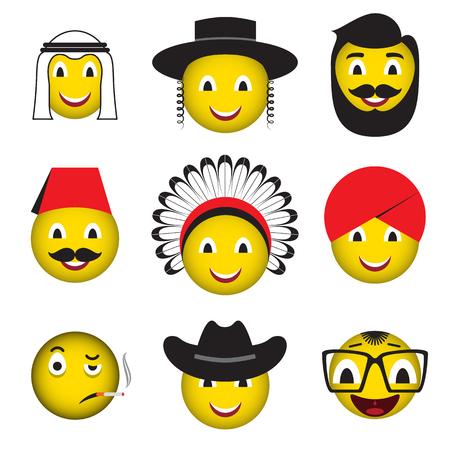 Set of avatars emoticons icons over white. Vector illustration. Illusztráció