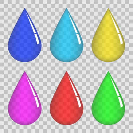 Set of transparent colored drops .