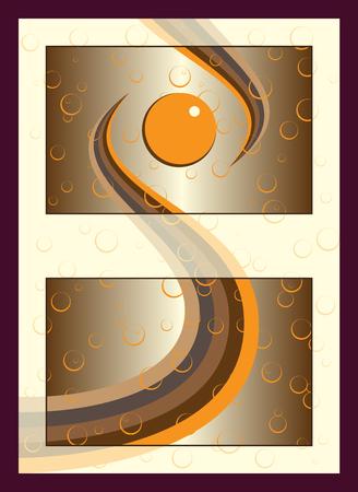 Orange gold spa cosmetics sticker label concept with bubbles.