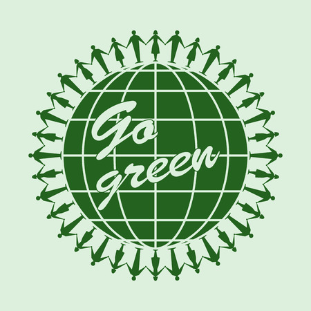 Go green icon circle, design element ,template, illustration