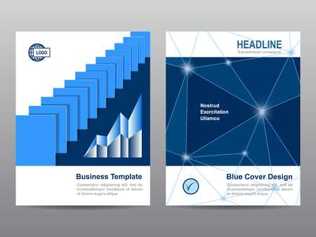 Blue annual report Leaflet Brochure Flyer template design, book cover layout design, Abstract blue  book cover templates
