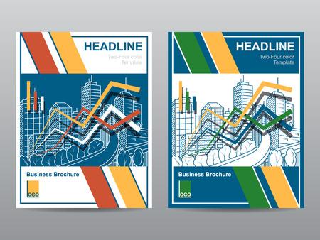 Twee-vier kleuren jaarverslag Folder Brochure template A4-formaat ontwerp, de cover van het boek lay-out ontwerp, Abstract presentatiesjabloon. Pas uw bedrijfskleuren Stockfoto - 58039552