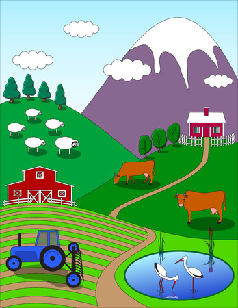 cows red barn: Colorful farm countryside cartoon background. Birds animals trees lake.  illustration.