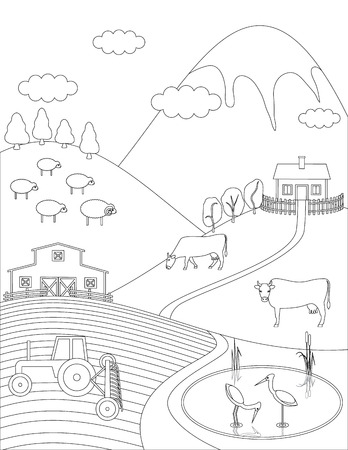 cows red barn: Coloring page farm countryside background. Birds animals trees lake. illustration.