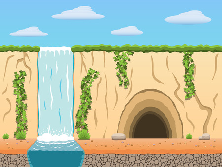Cartoon diggers black archaeologist tomb raiders game background.