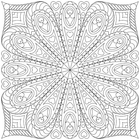 Coloring page Monochrome Floral Pattern. Hand Drawn Floral Texture, Decorative Flowers,