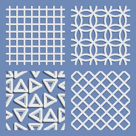Seamless pattern set paper cutout style with shadows. Vector illustration. Illustration