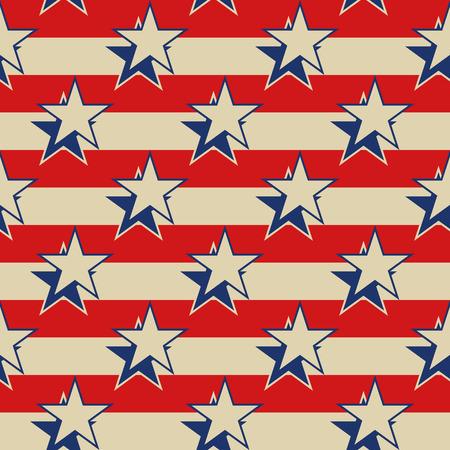 Retro stile USA patriottica sfondo senza soluzione di continuità. Stelle strisce illustrazione vettoriale.