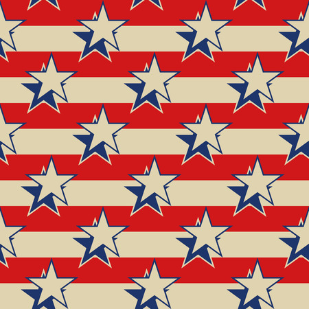 Retro style USA patriotic seamless background. Stars stripes vector illustration.