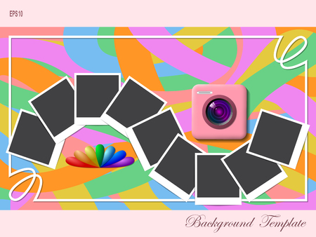 instant photo: Photo camera and instant photo frames over fancy background.