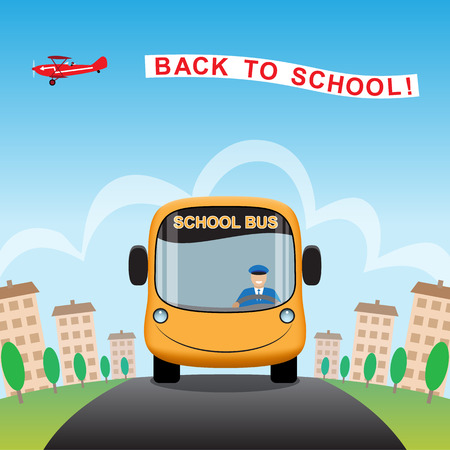 School bus on a city road. Airplane with back to school sky banner. Vector illustration.