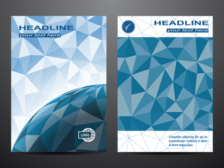 Blue annual report Leaflet Brochure template design, book cover layout design, Abstract blue book cover templates