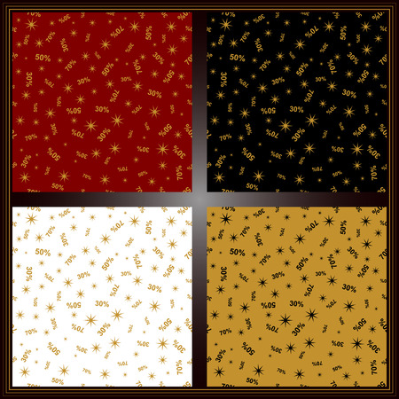 Set of seamless discount sales patterns for wrap, paper bags and other commercial use.