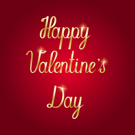 Happy Valentines Day Hand Drawing Gold Lettering Red Background.