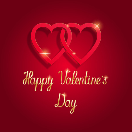 Happy Valentine's day greeting card. Red hearts red background gold handwriting.