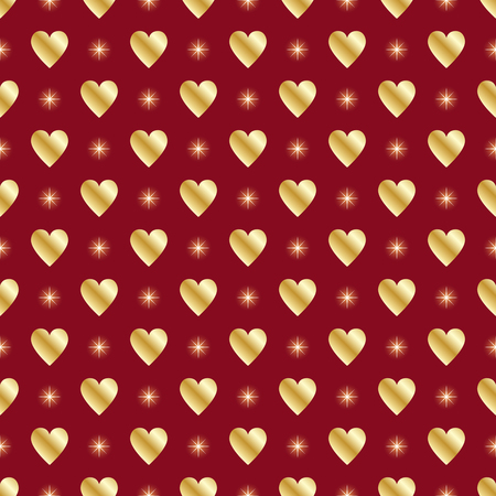 Golden hearts and stars over red seamless background.Vector illustration.