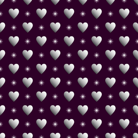 Silver hearts and stars over purple seamless background.Vector illustration.